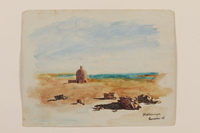 2012.471.52 front Watercolor of a domed building in the desert near blue green Lake Habbiniyah created by a Jewish soldier, 2nd Polish Corps  Click to enlarge