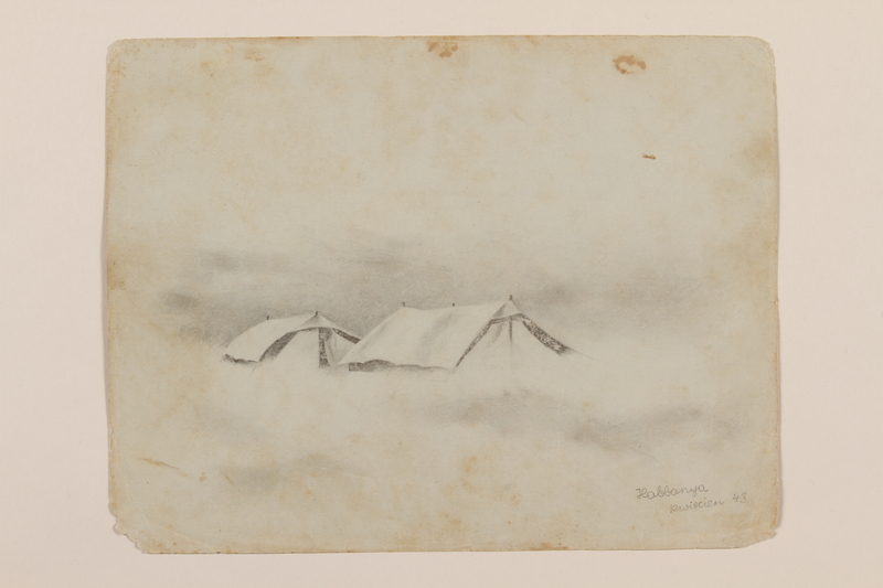 2012.471.53 front Pencil drawing of two tents created by a Jewish soldier, 2nd Polish Corps