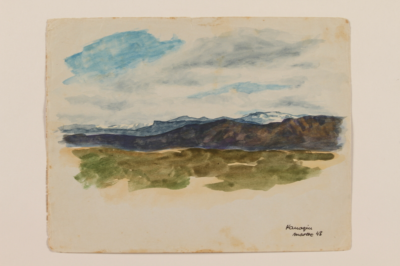 2012.471.47 front Watercolor of distant snowy mountains created by a Jewish soldier, 2nd Polish Corps