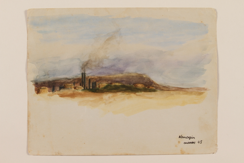 2012.471.48 front Watercolor of an oil refinery created by a young Jewish soldier, 2nd Polish Corps