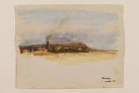 2012.471.48 front Watercolor of an oil refinery created by a young Jewish soldier, 2nd Polish Corps  Click to enlarge