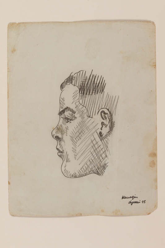 2012.471.46 front Pencil portrait of a young man in profile created by Jewish soldier, 2nd Polish Corps