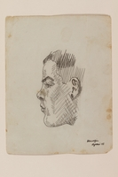 2012.471.46 front Pencil portrait of a young man in profile created by Jewish soldier, 2nd Polish Corps  Click to enlarge