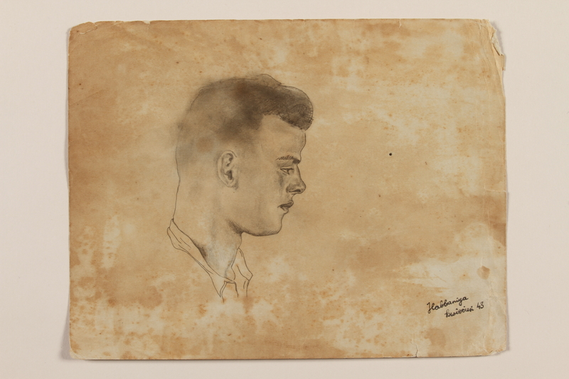 2012.471.50 front Pencil portrait of the head of a young Polish soldier in right profile created by a Jewish soldier, 2nd Polish Corps
