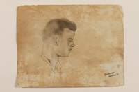2012.471.50 front Pencil portrait of the head of a young Polish soldier in right profile created by a Jewish soldier, 2nd Polish Corps  Click to enlarge