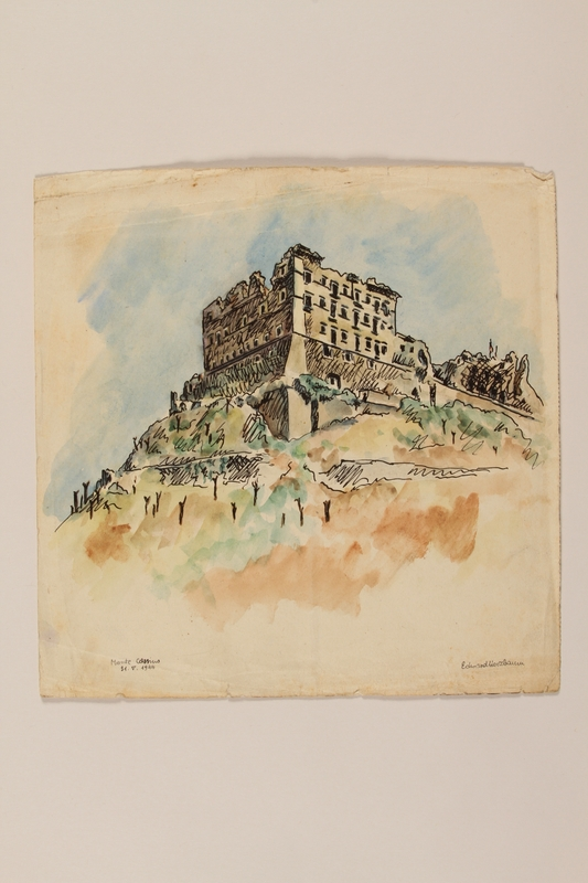 2012.471.68 front Watercolor of Monte Cassino abbey ruins by a young Jewish soldier, 2nd Polish Corps