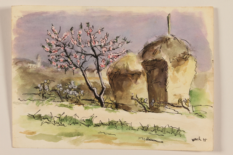 2012.471.93 front Watercolor of two haystacks and a pink flowering tree by a Jewish soldier, 2nd Polish corps