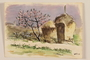 Watercolor of two haystacks and a pink flowering tree by a Jewish soldier, 2nd Polish corps