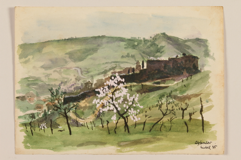 2012.471.94 front Watercolor of a white flowering tree at the foot of a hill by a Jewish soldier, 2nd Polish corps