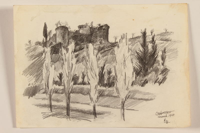 2012.471.95 front Pencil sketch of four Italian cypresses and a nearby castle by a Jewish soldier, 2nd Polish corps