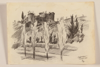 2012.471.95 front Pencil sketch of four Italian cypresses and a nearby castle by a Jewish soldier, 2nd Polish corps  Click to enlarge
