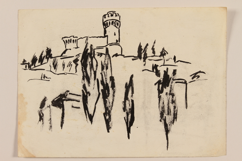 2012.471.102 front Ink drawing of a hilltop castle created by a Jewish soldier, 2nd Polish corps