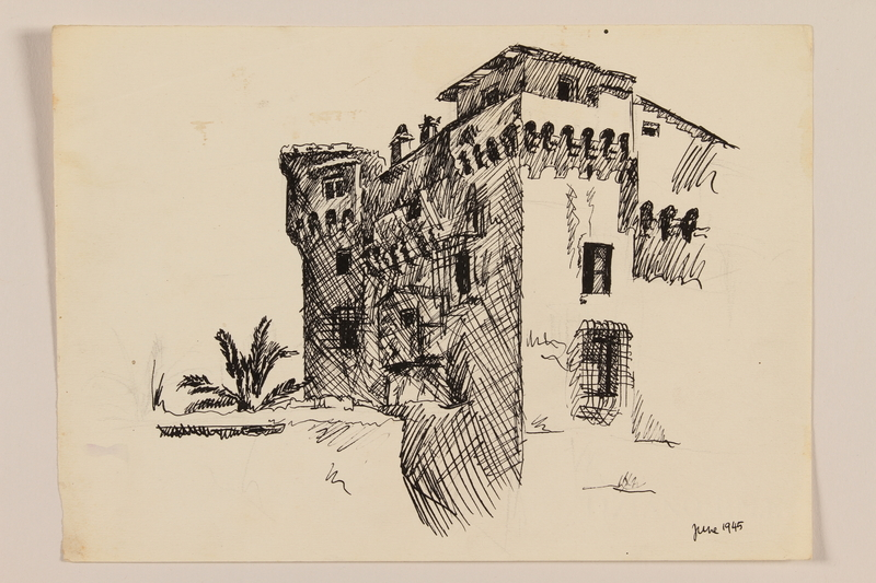 2012.471.96 front Drawing of a castle with palm trees created by a Jewish soldier, 2nd Polish corps