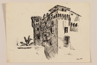 2012.471.96 front Drawing of a castle with palm trees created by a Jewish soldier, 2nd Polish corps  Click to enlarge
