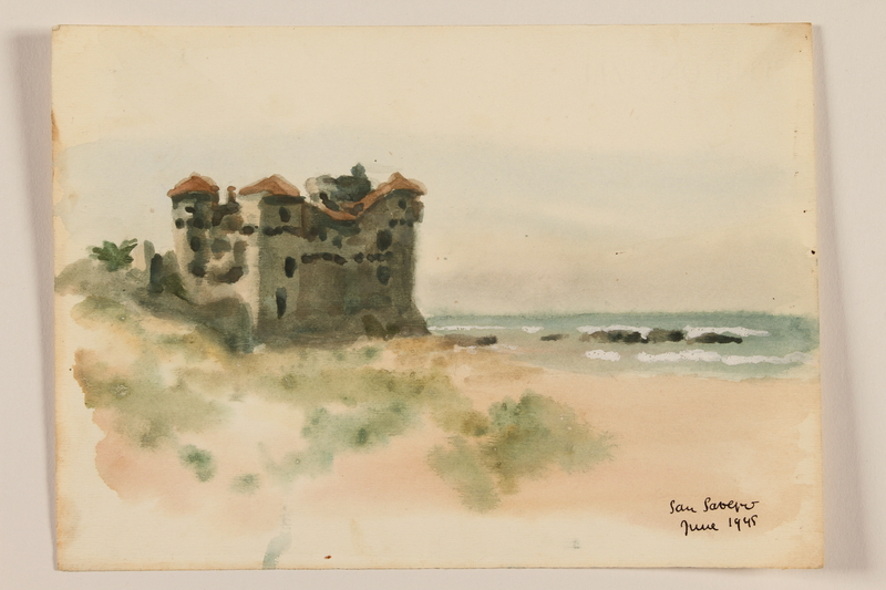 2012.471.97 front Watercolor of a palace along a rocky shore created by a Jewish soldier, 2nd Polish corps