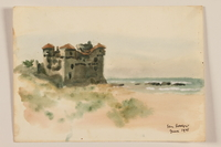 2012.471.97 front Watercolor of a palace along a rocky shore created by a Jewish soldier, 2nd Polish corps  Click to enlarge