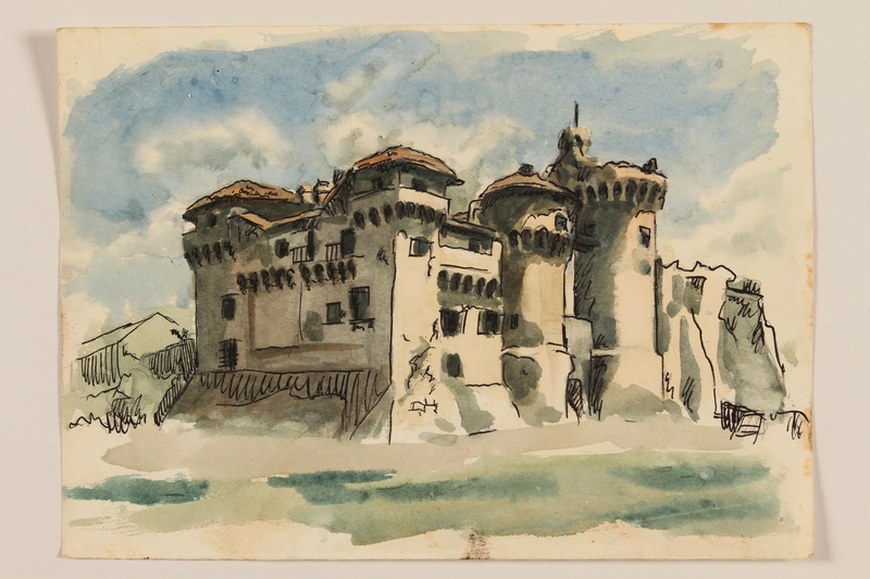 2012.471.101 front Watercolor study of a seaside castle created by a Jewish soldier, 2nd Polish corps