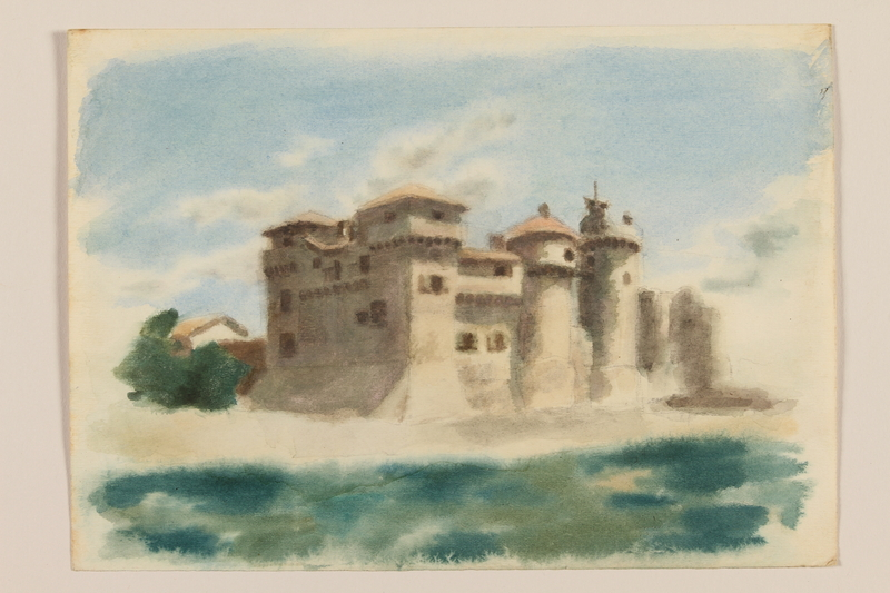 2012.471.100 front Muted watercolor of an Italian castle seen from offshore created by a Jewish soldier, 2nd Polish corps