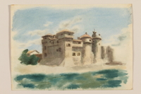 2012.471.100 front Muted watercolor of an Italian castle seen from offshore created by a Jewish soldier, 2nd Polish corps  Click to enlarge
