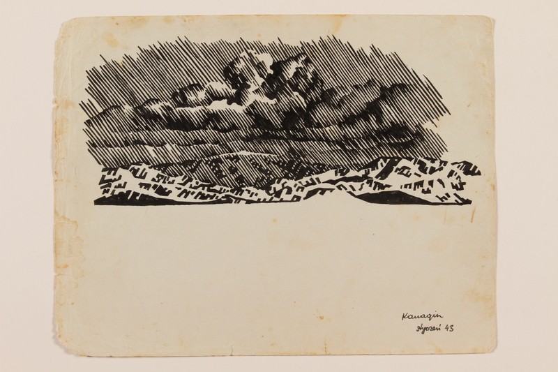 2012.471.45 front Ink drawing of a heavy rainfall in the mountains created by a Jewish soldier, 2nd Polish Corps