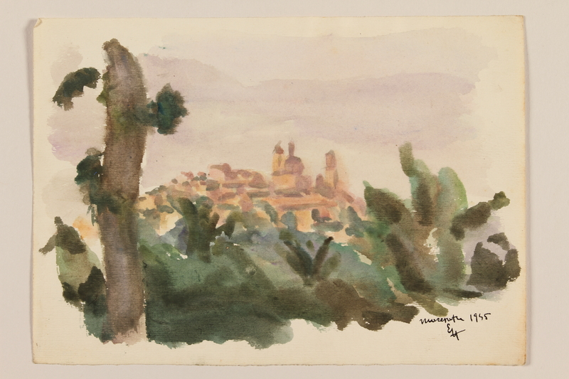2012.471.99 front Watercolor with a distant view of a hilltop town framed by foliage by a Jewish soldier, 2nd Polish corps