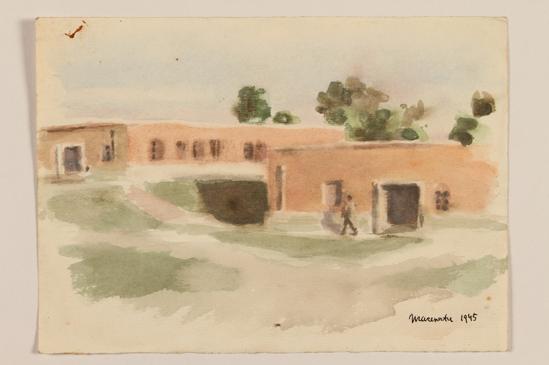 2012.471.98 front Watercolor of two single story buildings by a Jewish soldier, 2nd Polish corps