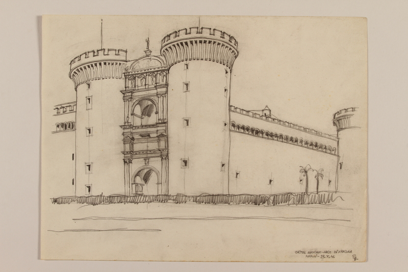 2012.471.105 front Architectural study of the facade of the Castle Nuovo by a Jewish soldier, 2nd Polish Corps