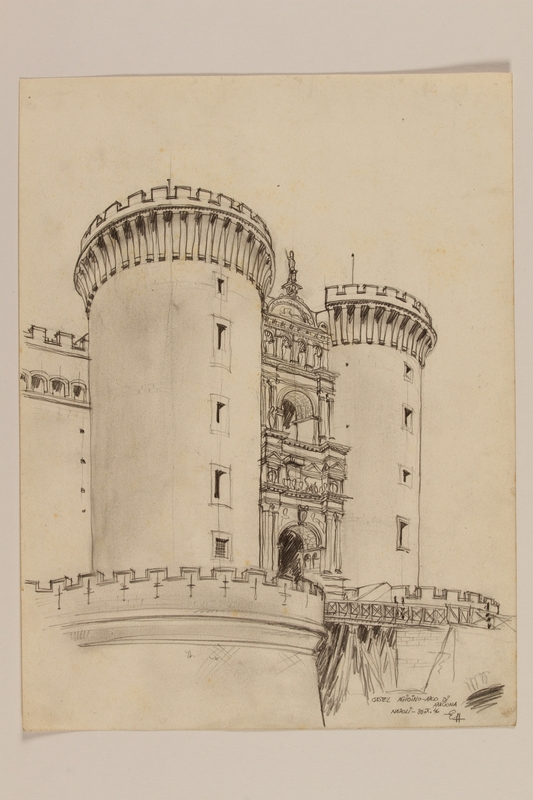 2012.471.106 front Architectural study of the Arch of Aragon, Castle Nuovo by a Jewish soldier, 2nd Polish Corps