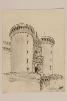 2012.471.106 front Architectural study of the Arch of Aragon, Castle Nuovo by a Jewish soldier, 2nd Polish Corps  Click to enlarge