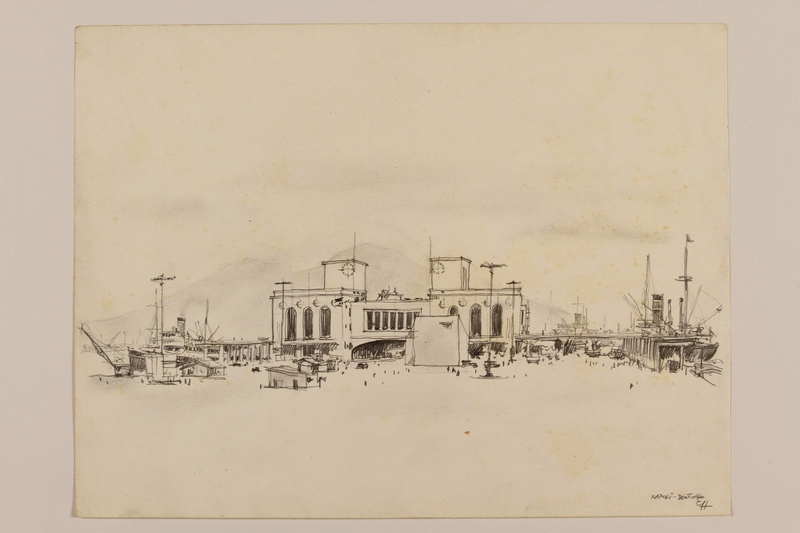 2012.471.107 front Pencil drawing of the city of Naples coastline by a Jewish soldier, 2nd Polish Corps