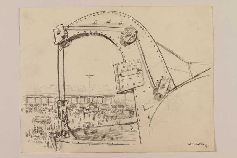 2012.471.108 front Pencil drawing of a ship hoist and the harbor by a Jewish soldier, 2nd Polish Corps