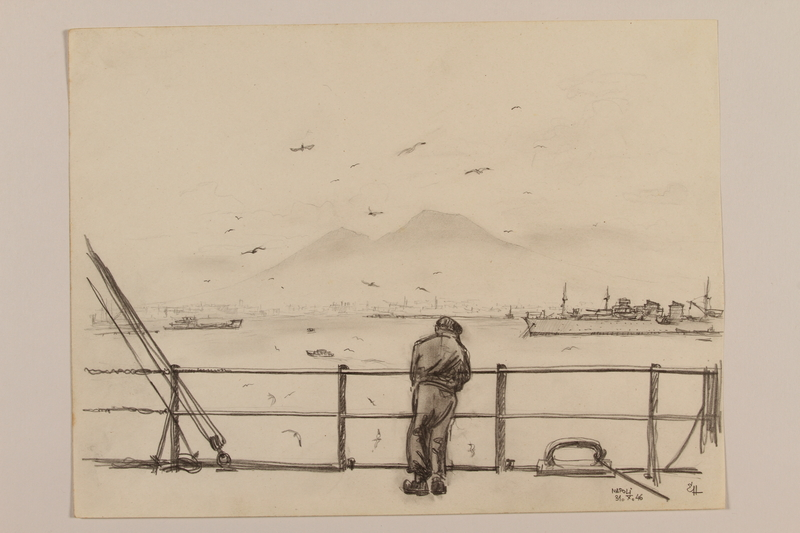 2012.471.109 front Pencil drawing of a man at a ship's rail with Mt. Vesuvius in the distance by a Jewish soldier, 2nd Polish Corps