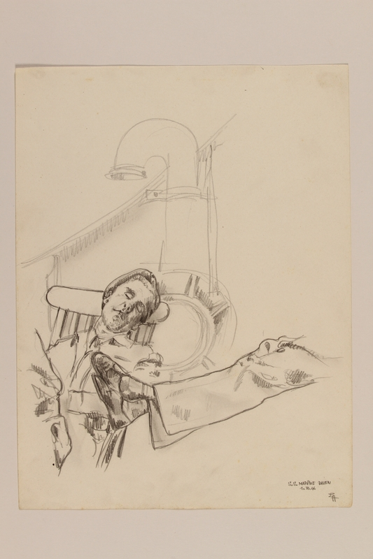 2012.471.110 front Pencil drawing of a soldier napping on board a ship by a Jewish soldier, 2nd Polish Corps