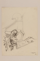 2012.471.110 front Pencil drawing of a soldier napping on board a ship by a Jewish soldier, 2nd Polish Corps  Click to enlarge