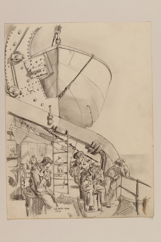 2012.471.111 front Pencil drawing of four uniformed soldiers smoking on a ship deck by a Jewish soldier, 2nd Polish Corps