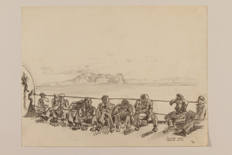 2012.471.112 front Pencil drawing of soldiers sitting on a ship deck with the Rock of Gibraltar behind them by a Jewish veteran, 2nd Polish Corps