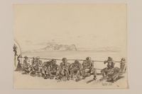 2012.471.112 front Pencil drawing of soldiers sitting on a ship deck with the Rock of Gibraltar behind them by a Jewish veteran, 2nd Polish Corps  Click to enlarge