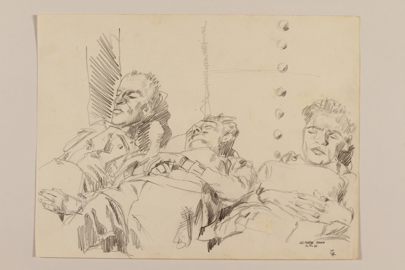 2012.471.113 front Pencil portrait of three soldiers sleeping on a ship deck by a Jewish veteran, 2nd Polish Corps