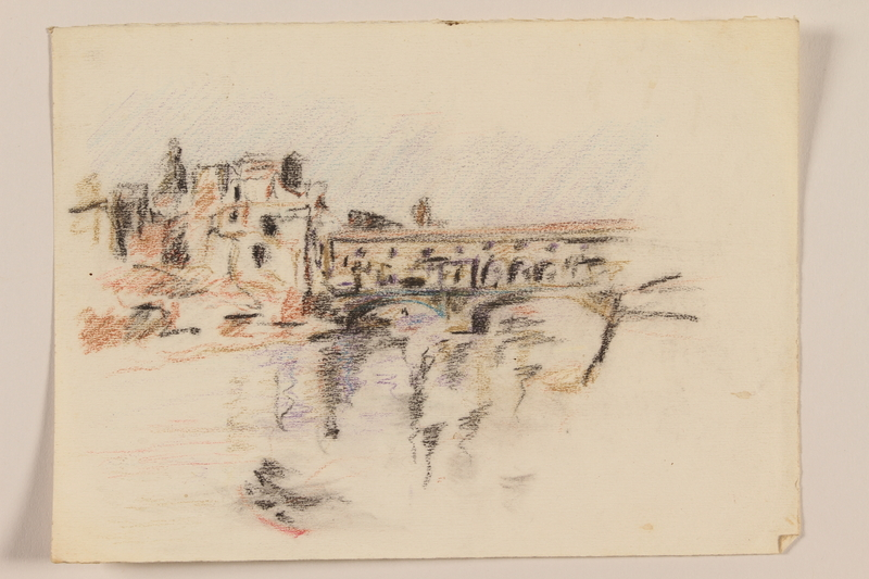 2012.471.104 front Pastel drawing of the Ponte Vecchio, Florence by a Jewish soldier, 2nd Polish Corps