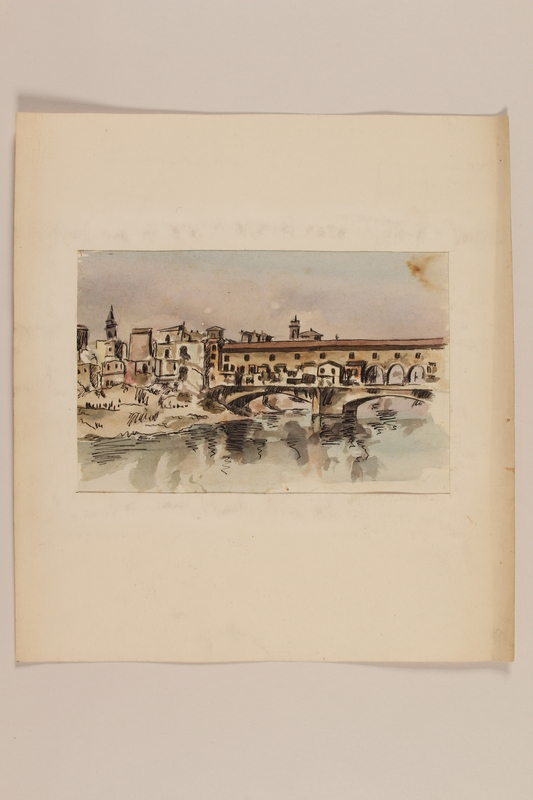 2012.471.103 front Watercolor of the Ponte Vecchio, Florence by a Jewish soldier, 2nd Polish Corps