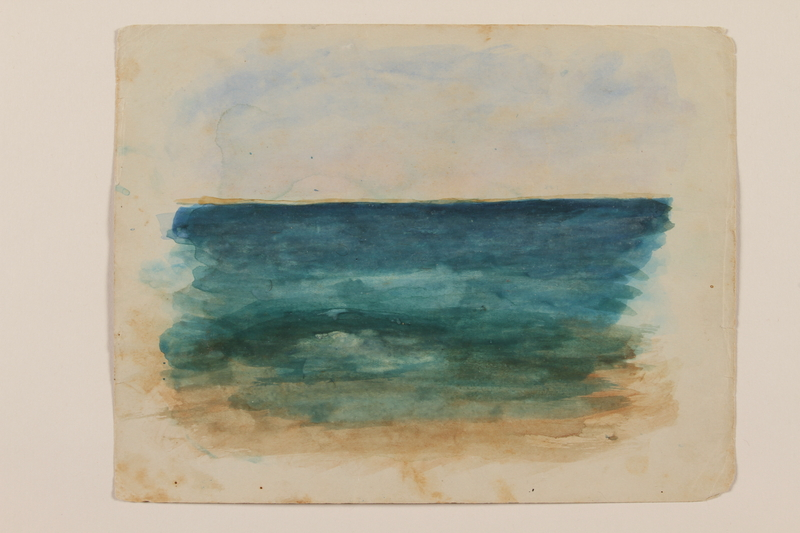 2012.471.40 front Watercolor of a blue/green sea created by a young Jewish soldier, 2nd Polish Corps