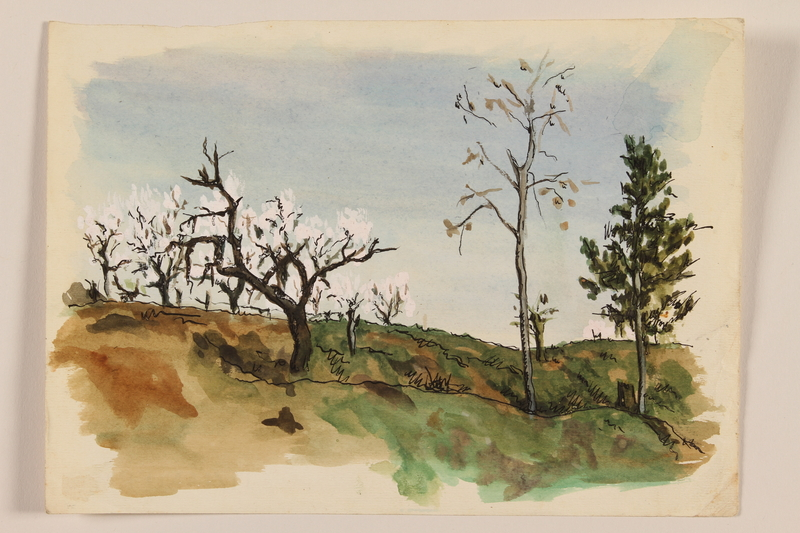 2012.471.92 front Watercolor of three trees on an Italian hillside by a Jewish soldier, 2nd Polish corps
