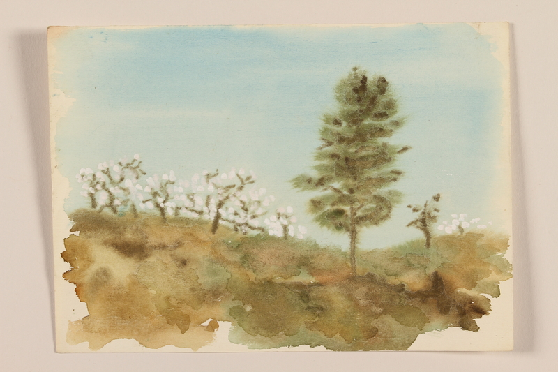 2012.471.91 front Impressionistic watercolor of a tall green tree near a field of white blossomed trees painted by a Jewish soldier, 2nd Polish corps