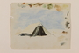 Watercolor of a soldier's tent created by a young Jewish soldier, 2nd Polish Corps