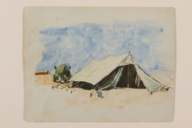 2012.471.43 front Watercolor of a large tent with a military vehicle created by a young Jewish soldier, 2nd Polish Corps