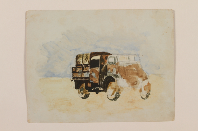 2012.471.42 front Watercolor sketch of a military transport truck created by a young Jewish soldier, 2nd Polish Corps