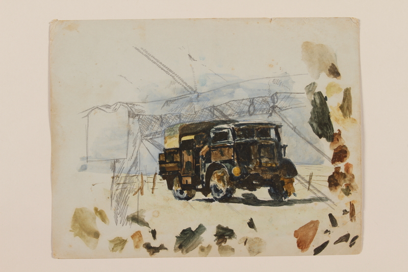 2012.471.41 front Watercolor of a British Army truck painted in camouflage created by a young Jewish soldier, 2nd Polish Corps