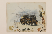 2012.471.41 front Watercolor of a British Army truck painted in camouflage created by a young Jewish soldier, 2nd Polish Corps  Click to enlarge
