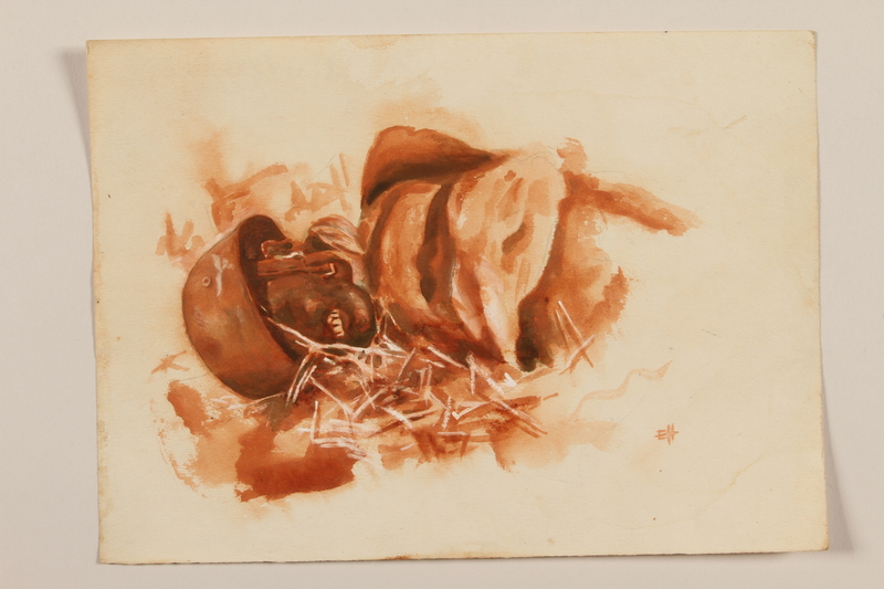 2012.471.65 front Brown and orange watercolor of the corpse of a German soldier near Monte Cassino by a Jewish soldier, 2nd Polish Corps