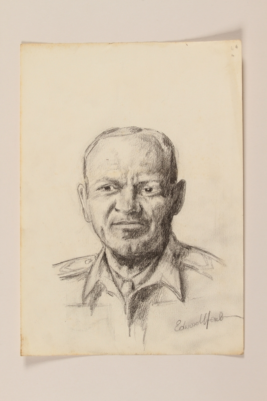 2012.471.64 front Pencil portrait  of a middle aged uniformed officer by a Jewish soldier, 2nd Polish Corps